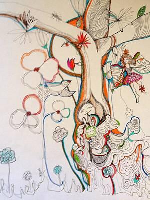 Wall Art - Drawing - Ellie's Garden by Rosalinde Reece