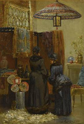 Ceramics Painting - Elliott  1859 - 1932 A Quaint Oriental Shop by Celestial Images