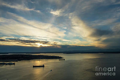 Photograph - Elliott Bay Dramatic Skies At Dusk by Mike Reid