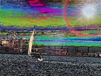 Freeway Digital Art - Elliott Bay Sail 2 by Tim Allen