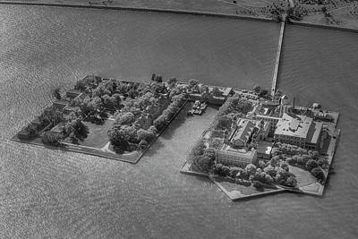 Photograph - Ellis Island Nyc Aerial Bw by Susan Candelario
