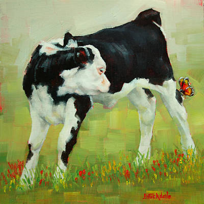 Painting - Elly The Calf And Friend by Margaret Stockdale