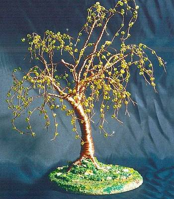 Tr Mixed Media - Elm On Lawn - Wire Tree Sculpture  by Sal Villano