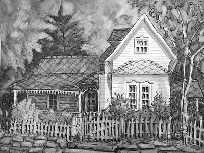 Painting - Elma's House In Bw by Gretchen Allen