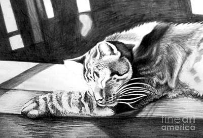 Drawing - Elmer The Cat by Genevieve Esson