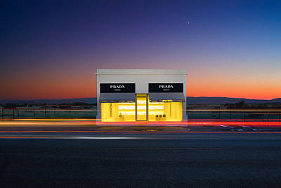 Clear Shoes Photograph - Elmgreen And Dragset, Prada Marfa At Dusk by Stephen Masker