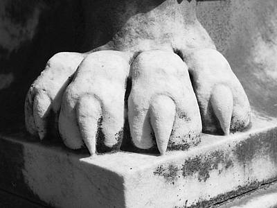 Cemetary Photograph - Elmwood Cemetery - Lions Paw by Jon Woodhams
