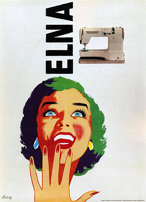 Mixed Media - Elna - Computerized Sewing Machine Company - Vintage Advertising Poster by Studio Grafiikka