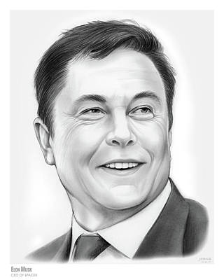 Drawing - Elon Musk by Greg Joens
