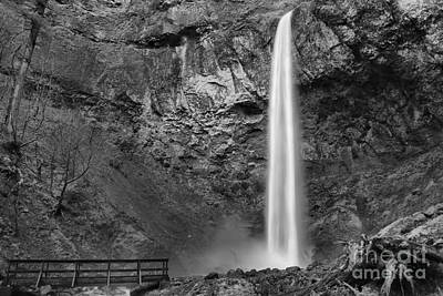 Photograph - Elowah Falls Canyon Black And White by Adam Jewell