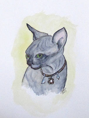 Painting - Else The Sphynx Kitten by Clyde J Kell