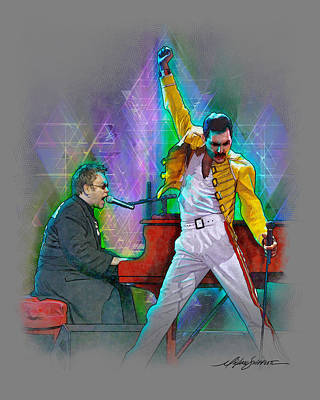 Elton John Drawing - Elton And Freddie by Michael Shifflett