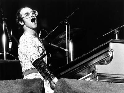 Singer Photograph - Elton John 1975 Dodger Stadium by Chris Walter