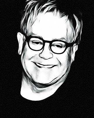 Elton John Wall Art - Digital Art - Elton John Black And White by Yury Malkov