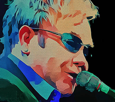 Elton John Blue Eyes Portrait 2 Print by Yury Malkov