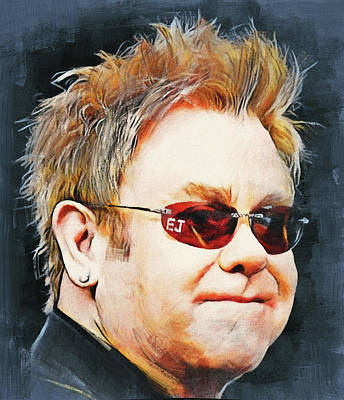 Elton John Wall Art - Digital Art - Elton John Classic Portrait by Yury Malkov