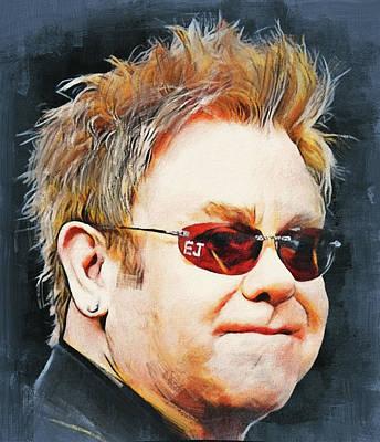 Elton John Digital Art - Elton John Classic Portrait by Yury Malkov