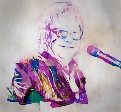 Music Paintings - Elton John by Dan Sproul