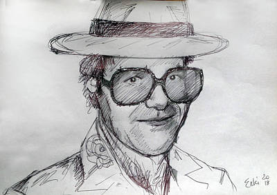 Elton John Drawing - Elton John  by Enki Art