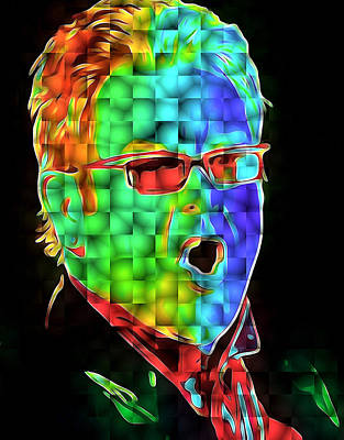 Elton John Digital Art - Elton John In Cubes 2 by Yury Malkov