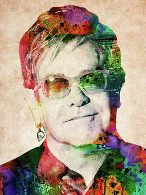 Musicians Digital Art Rights Managed Images - Elton John Royalty-Free Image by Mihaela Pater