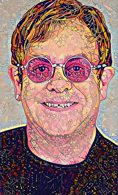 Elton John Wall Art - Digital Art - Elton John Triangles Portrait by Yury Malkov