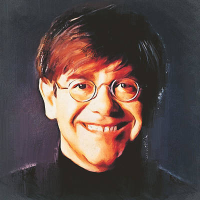 Elton John Wall Art - Digital Art - Elton John Young Portrait by Yury Malkov