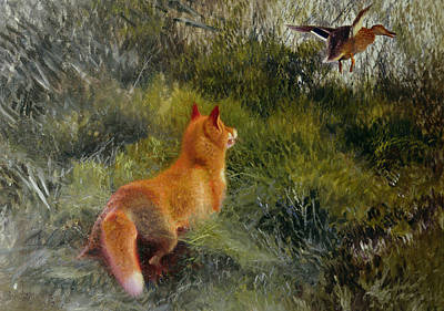 Ducks Painting - Eluding The Fox by Bruno Andreas Liljefors