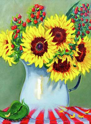 Painting - Elvie's Sunflowers by Vicki VanDeBerghe