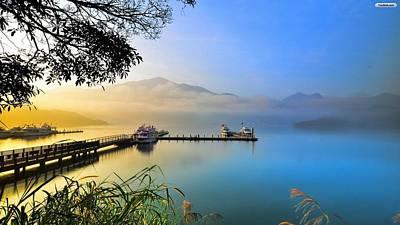 Elvin Siew Chun Wai - Morning Nature Mountain Bridge Reflection In Sea Art Print by Elvin Siew Chun Wai