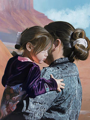 Navajo Children Painting - Elvina And Tianna by Lee Alban
