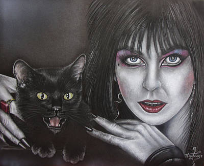Elvira And Her Cat Art Print by Jonathan Anderson