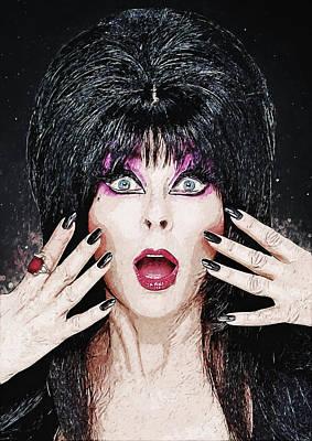 Spooky Digital Art - Elvira - Mistress Of The Dark by Taylan Apukovska