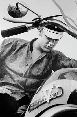 Brakes Mixed Media - Elvis And His Bike Bw by Thomas Woolworth