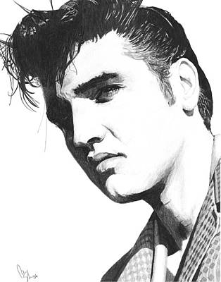 Celebrity Art Drawing - Elvis by Bobby Shaw