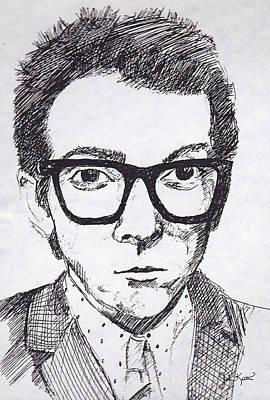 Drawing - Elvis Costello by John Keaton