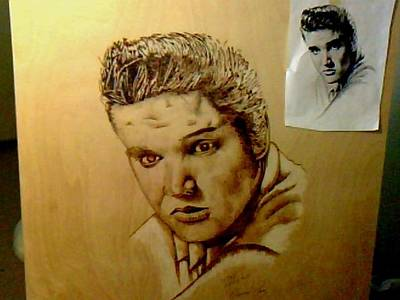 David Gray Pyrography - Elvis by David Gray