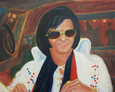 Elvis Impersonators Painting - Elvis Impersonator In A Limo by Suzanne  Marie Leclair