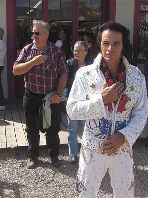 Elvis Impersonators Photograph - Elvis Impersonator Pledges Allegiance Tombstone Arizona 2004 by David Lee Guss
