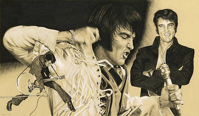 Drawing - Elvis In Charcoal #183, No Title by Rob De Vries