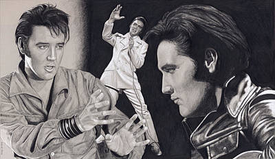 Drawing - Elvis In Charcoal #184, No Title by Rob De Vries