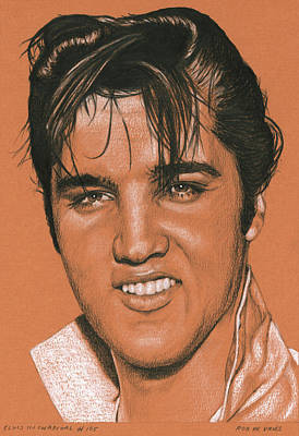 Drawing - Elvis In Charcoal No. No Title165 by Rob De Vries