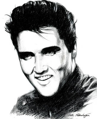 Elvis Presley Drawing - Elvis by Lin Petershagen