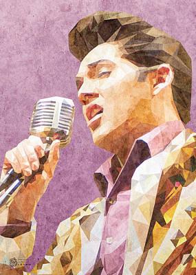 Digital Art - Elvis Low Poly by Flavio Lisi