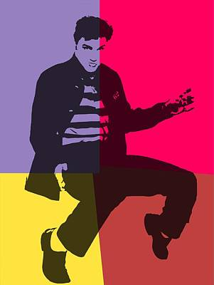 Elvis Pop Art Panels Art Print