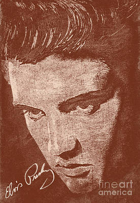 Celebrities Photograph - Elvis Preslely - Sepia  by Prar Kulasekara