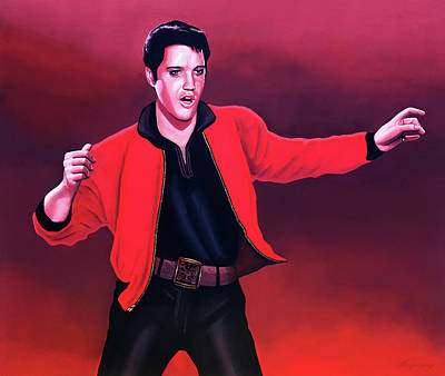 Suede Painting - Elvis Presley 4 Painting by Paul Meijering