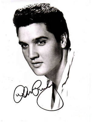 Autographed Mixed Media - Elvis Presley Autographed Portrait by Pd