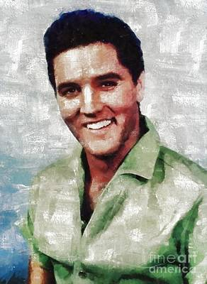 Television Painting - Elvis Presley By Mary Bassett by Mary Bassett