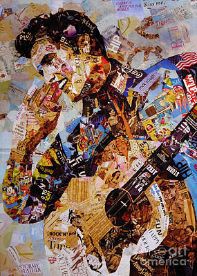 Famous Hotel Painting - Elvis Presley Collage Art  by Gull G